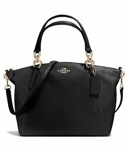 Coach Pebble Leather Small Kelsey Satchel Bag F36675 Black