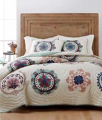 Martha Stewart Cream (Martha Stewart Mystical Suzani King Quilt Reversible Cotton Cream Blue  NEW $400 )