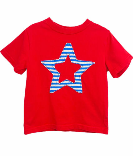 Hanna Andersson Star T-Shirt Boys  Size 90/3 Short Sleeve Pullover Shirt Red