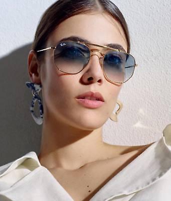 RAY BAN MARSHAL RB3648 001-3F HEXAGONAL Sunglasses Light Blue Lens, Gold Frame