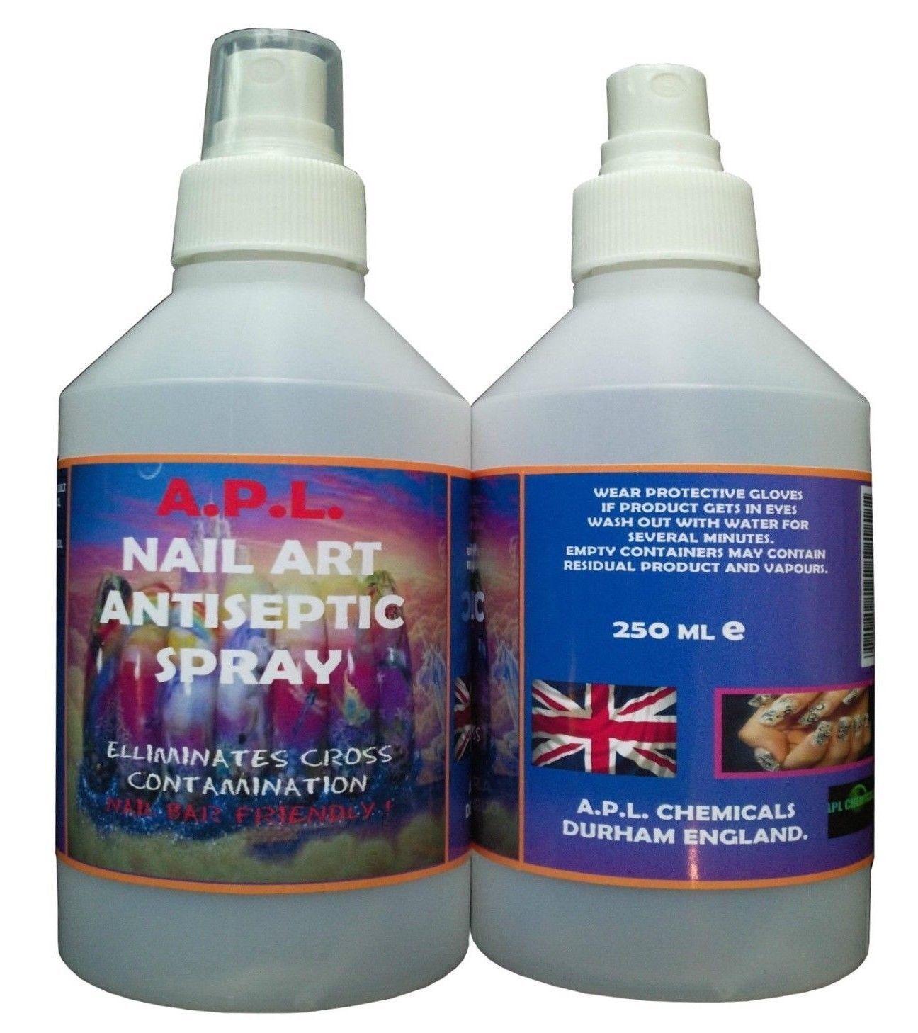 NAIL TREATMENT ANTISEPTIC STERILISER SPRAY ACRYLIC FILE  SANITISER 5 x 250ML