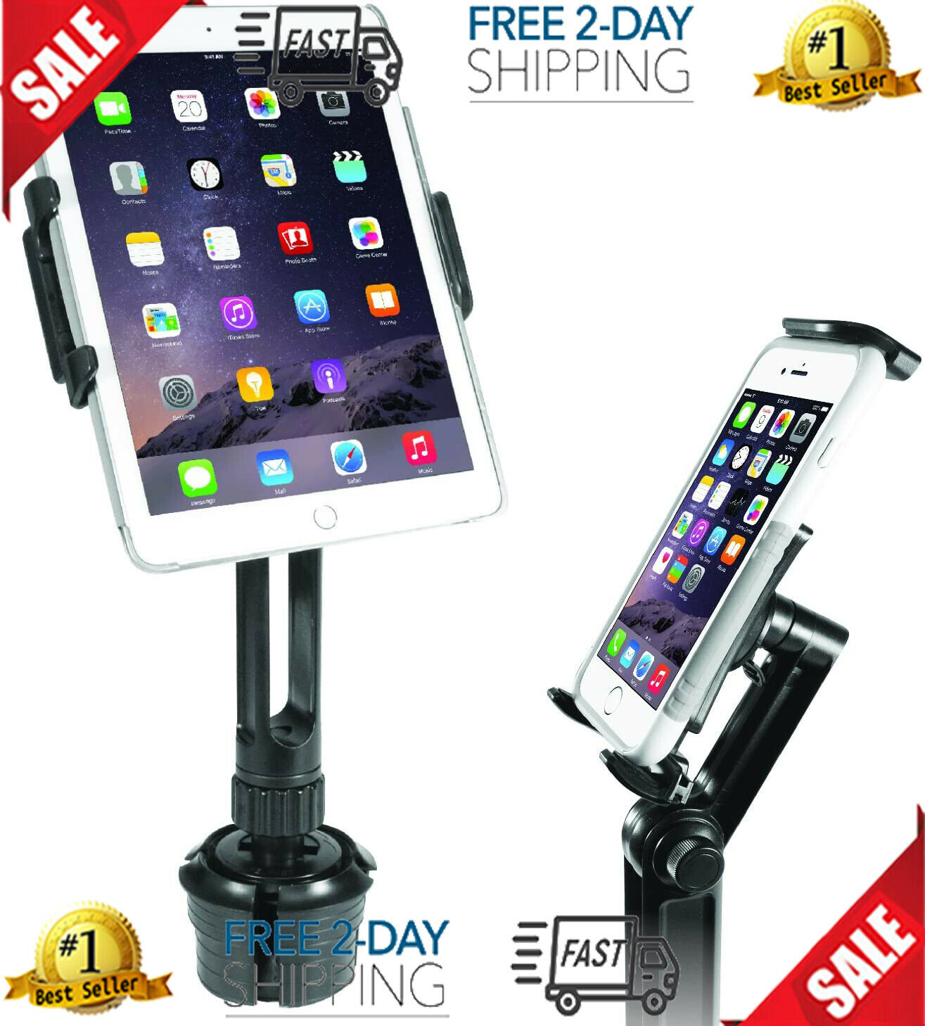 Macally Heavy-Duty Tablet Holder For Car - Works As Cup Hold