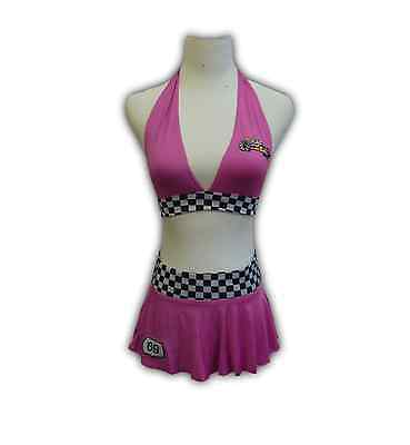 Ladies Sexy Pink Racer Girl Fancy Dress Halloween Outfit Party Costume for Women - Halloween Racer Girl Costumes