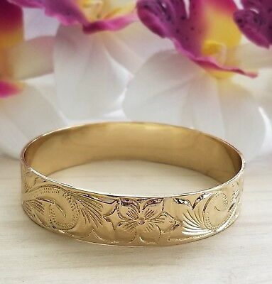 15mm Gold Hawaiian Heirloom engraved Bracelet, Size 9  Made in Hawaii