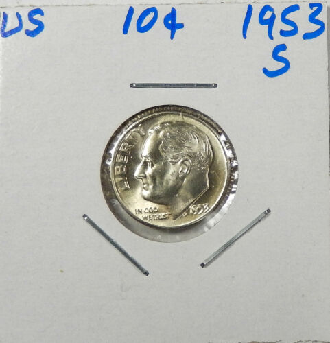 1953-S Silver Roosevelt Dime Choice/Gem Uncirculated