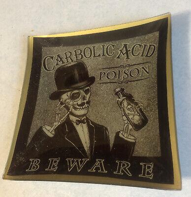 Vintage Carbolic Acid Poison Beware Dish Skeleton Image