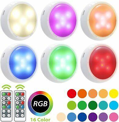 6 Wireless LED Puck Light, OxyLED RGB Color Changing LED Closet Lights, Remote