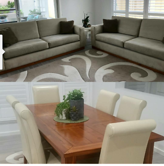 2x3 seater  suede lounge, 7 piece dining & a rug. THE WHOLE LOT