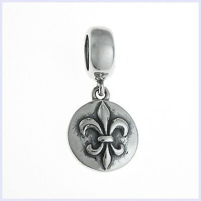 Sterling Silver Fleur-de-lis Flower Lily Scout Bead for European Charm Bracelet