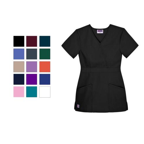 Sivvan Womens Uniforms Mock Wrap Nurse Medical Scrub Top Fit