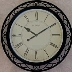 BULOVA WALL CLOCK BLACK WROUGHT METAL CASE LARGE ROUND DIAL ROMAN NUMERALS NEW!
