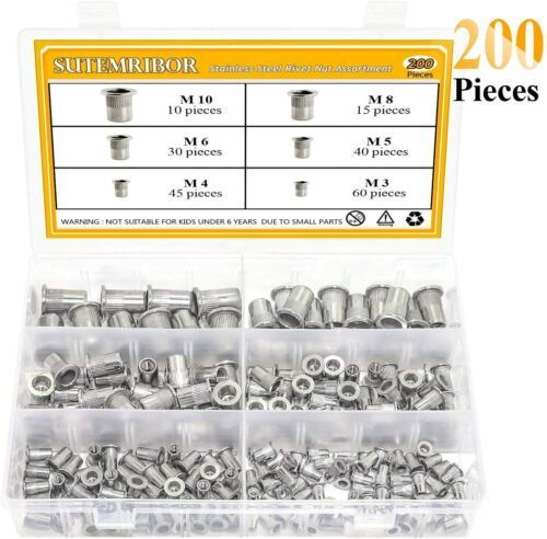 304 Stainless Steel Flat Head Threaded Rivetnut Insert Nutsert Assortment Kit 6