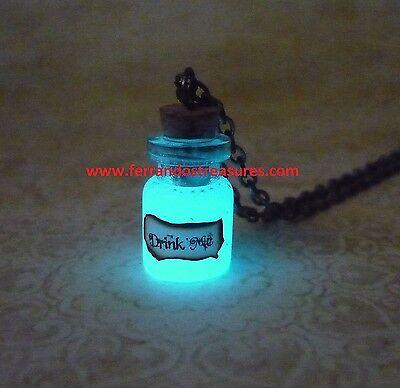 Alice in Wonderland Drink Me Bottle Glow In The Dark Drink Me Necklace Glowing