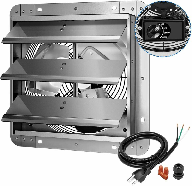 iPower 3Speed 12Inch Shutter Variable Exhaust Fan Aluminum with Build Controller