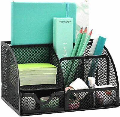 Office Desk Organizer Mesh Desktop Supplies Pen Holder W 6 Compartments 1drawer