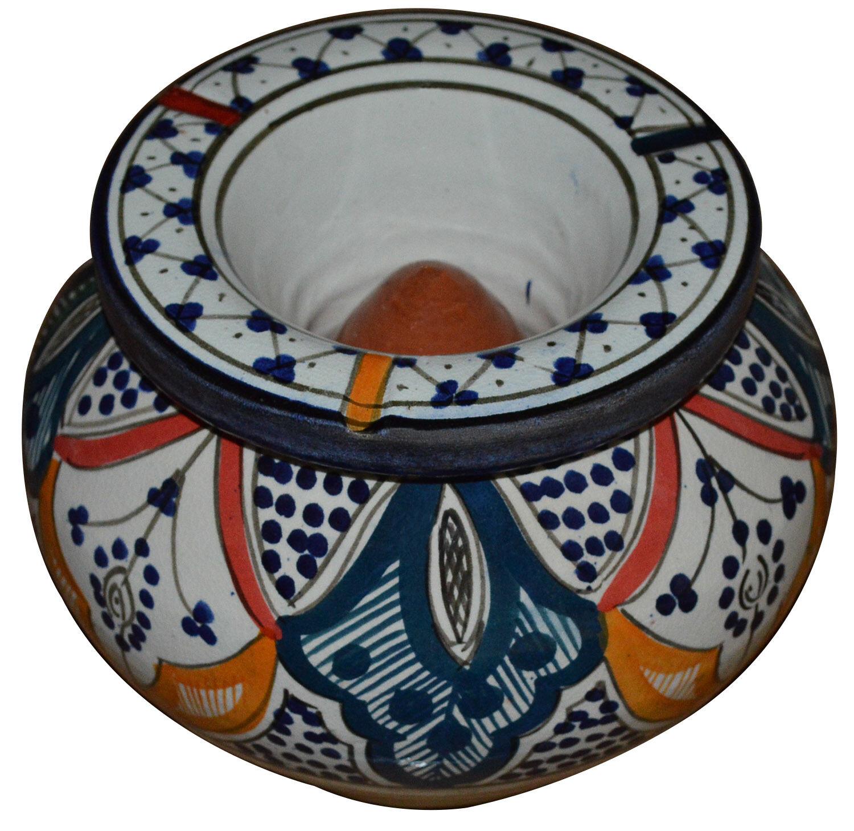 Outside Ashtrays   Moroccan Xlarge Cigar Ceramic Ashtray Handmade Colorful  Outside Smokeless Patio