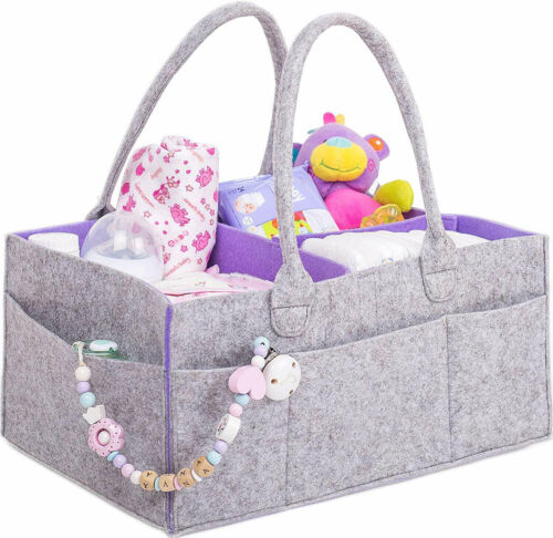Baby Diaper Caddy Organizer with Changing Mat for Diapers and Baby Wipes