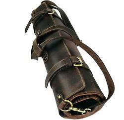 Leather Chef's Knife Roll, Chef's Bag, Genuine Leather Knife Roll 10 POCKETS
