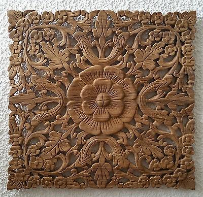 Wandbild Relief Teak Holz Schnitzerei Dekor Thai Asia 45x45 natur beige . NEU