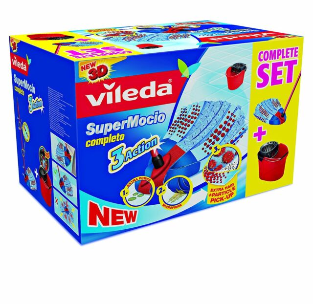 Vileda Supermocio 3 Action Mop And Bucket Set 3 piece Handle, Bucket & Wringer.