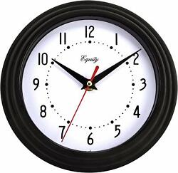 """Classic 8"""" Round Black Plastic Large Numbers Indoor Wall Clock w/ Glass Lens"""