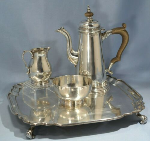 Art Deco Crichton Brothers Sterling Silver Coffee Pot Sugar & Creamer Tray