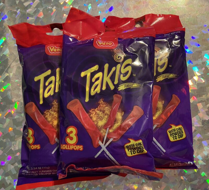 Takis Lollipops 3 packs 9 Total Mexican Candy Individually Wrapped Spicy