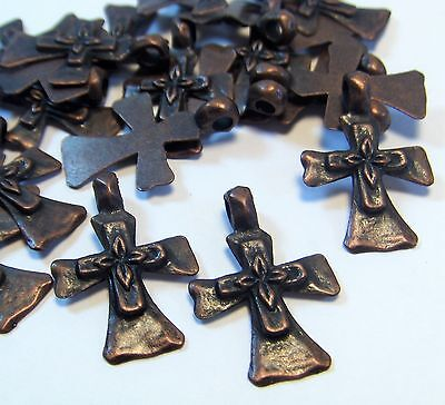 50 COPPER CROSSES CHARMS-PENDANTS-RELIGIOUS-WESTERN-JEWELRY MAKING SUPPLIES LOT