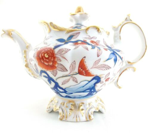 ANTIQUE, ENGLISH TEAPOT CIRCA 1830, STUNNING HAND PAINTED COBALT IMARI COLORS