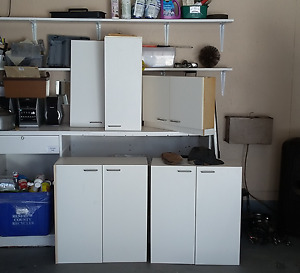 white laminte cupboards