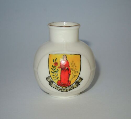 W. H. GOSS Crested Heraldic China Miniature Model of Old Welsh Milk Can Ventnor