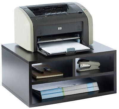 New Basicwise Printer Stand Shelf Wood Office Desktop Compartment Organizer