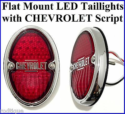 Chevrolet Script LED Taillights Flat Mount Chevy Streetrod Hot Rod Rat Rod