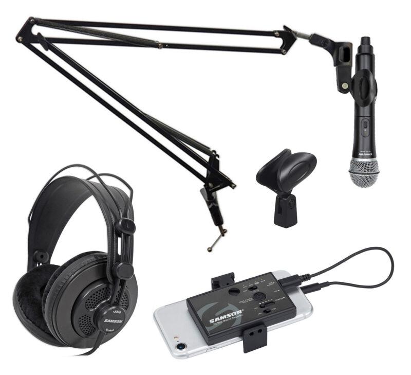 Samson Go Mic Wireless ASMR Recording Streaming Kit w/Microphone+Boom+Headphones