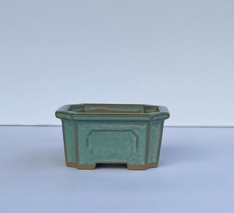 Vtg Shohin, Bonsai Succulent Pot Japanese Blu/Grn Glaze Drain Hole Small Planter