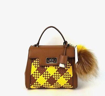 Michael Kors Satchel Mini Leather Top Handle Karson Flap Handbag Luggage Citrus
