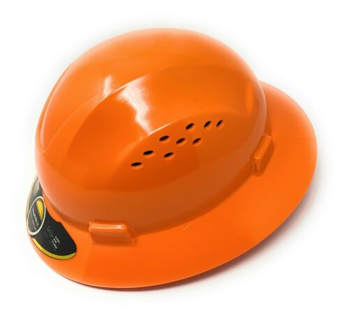HDPE  Orange Full Brim Hard Hat with Fas-trac Suspension