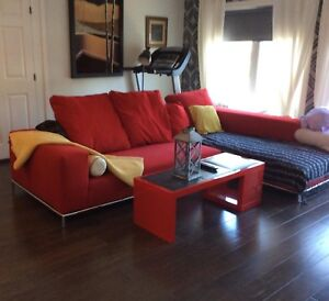 Red Sectional Sofa (Large and Sturdy) -moving -retail $4000