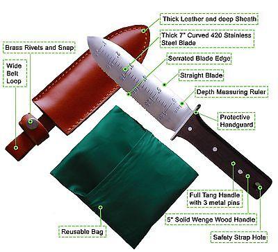 (Premium Steel - Hori Hori Garden Knife With Free Leather Sheath & Gardening Bag )