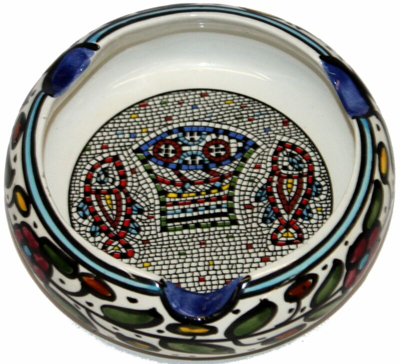 Ceramic Round Ashtray with Fish and Loaves - Tabgha or Miracle of