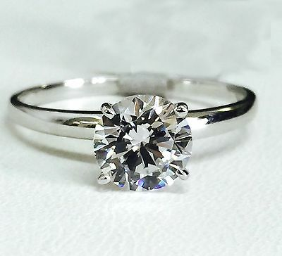 Solid 14K White Gold Cubic Zirconia Solitaire Engagement Ring - 6.5mm CZ (1 ct)  (1 Ct Cubic Zirconia)