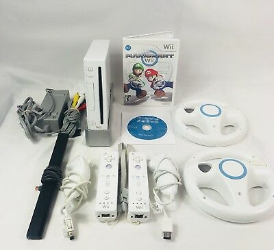 Nintendo White Wii Console Bundle Mario Kart, Wii Sports, 2 Controllers 2 Wheels