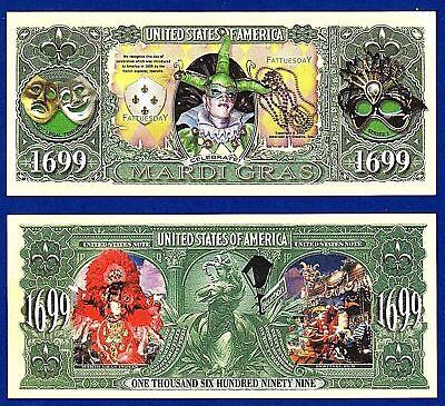 Carnival Gift Card (5-Mardi Gras Dollar Bills Carnival-Novelty Gift Card Celebrate Play Money)