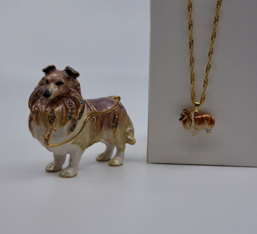 * WOW! MINI COLLIE SHELTIE BEJEWELED TRINKET BOX WITH MATCHING NECKLACE *