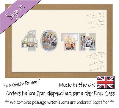 40th Birthday Ruby Wedding Anniversary Word Guest Signing Photo Frame (40th Wedding Anniversary Dekorationen)