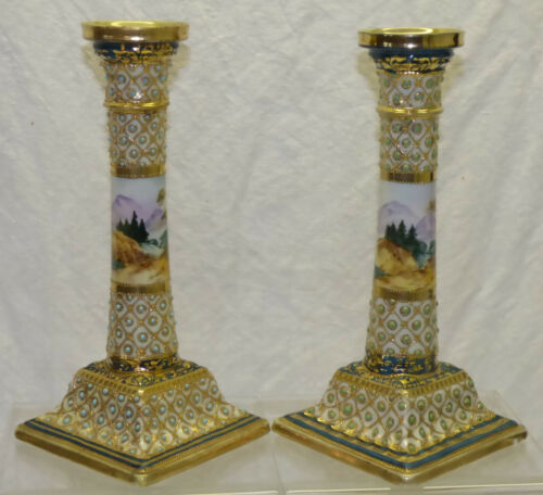 Antique Pair Nippon Scenic Mountain Painted Candlesticks Jeweled w/ Gold Beading