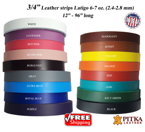 Leather Strips 3/4 inch-6 -7 oz(2.4-2.8 mm)-Use for Belts, Collars, Purse Straps