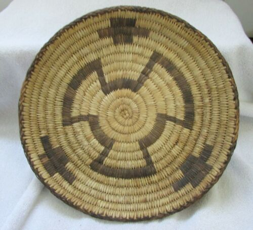 Papago Indian Hand Coiled Basket Geometric Designs Willow Yucca Devils Claw