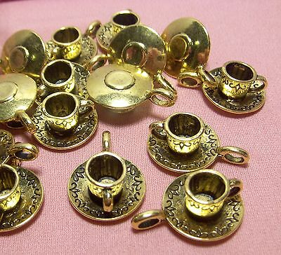 25 GOLD METAL TEACUP-TEA PARTY CHARMS-PENDANTS-DROPS-FINDINGS-JEWELRY MAKING