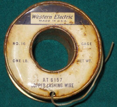 Vintage Western Electric Copper Lashing Wire Spool WE AT6157 No. 16 Gage